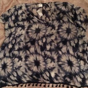 NWT Dress Barn Navy and White tie dye coverup